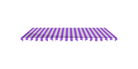 Classic purple and white striped canopy awning, design element for cafe, shop, restaurant vector Illustration isolated on a white background.