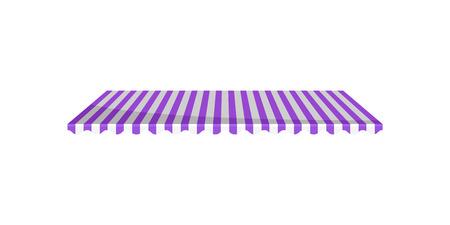 Toldo de dosel a rayas púrpura y blanco clásico, elemento de diseño para cafetería, tienda, restaurante vector ilustración aislada sobre fondo blanco.