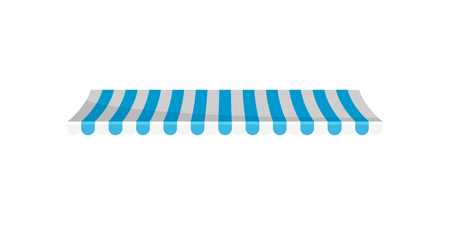 Striped canopy awning, design element for cafe, shop, restaurant vector Illustration isolated on a white background.