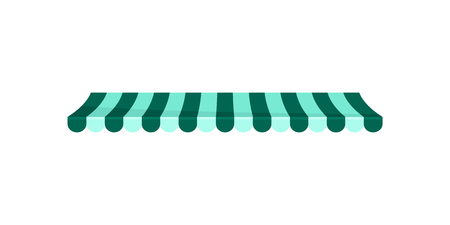 Classic green and white striped canopy awning, design element for cafe, shop, restaurant vector Illustration isolated on a white background.