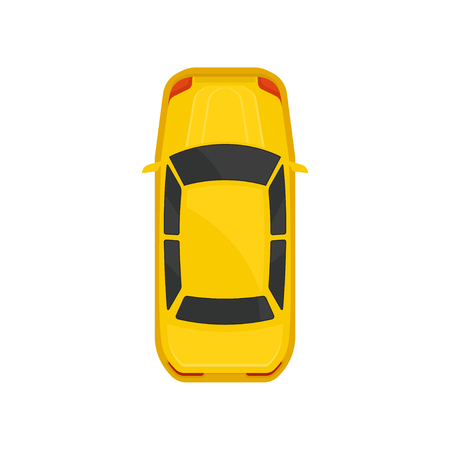 Yellow sedan car top view, city vehicle transport, automobile for transportation vector Illustration isolated on a white background. 일러스트