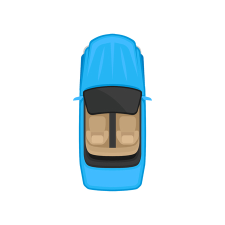 Cabriolet car top view, city vehicle transport, automobile for transportation vector Illustration isolated on a white background.