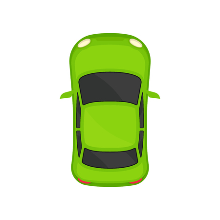 Green sedan car top view, city vehicle transport, automobile for transportation vector Illustration isolated on a white background.  イラスト・ベクター素材