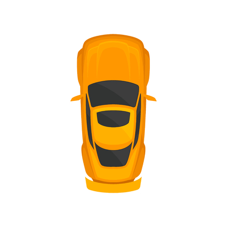 Orange sport car top view, city vehicle transport, automobile for transportation vector Illustration isolated on a white background. 일러스트