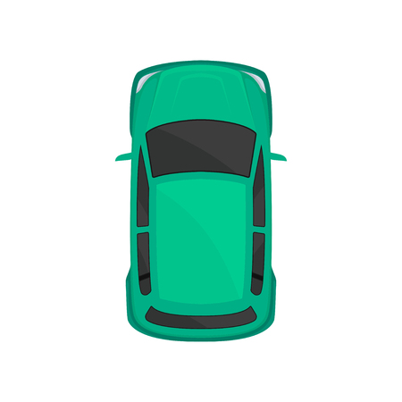 Green car top view, city vehicle transport, automobile for transportation vector Illustration isolated on a white background.