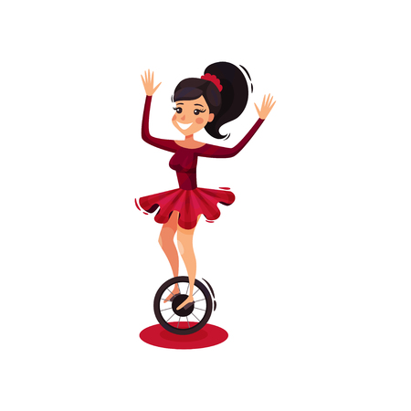 Girl riding on unicycle. Young woman showing circus performance. Cartoon vector design 矢量图像