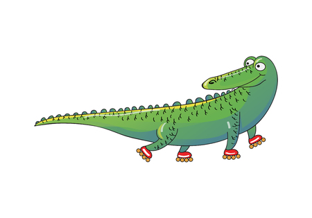 Green crocodile riding roller-skates. Wild humanized animal. Funny alligator. Cartoon character. Decorative graphic element for children book. Colorful vector illustration isolated on white background