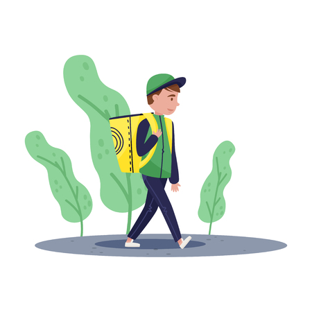 Delivery boy walking by street with yellow backpack on his shoulders. Young guy in green jacket and cap. Cartoon character. Colorful vector illustration in flat style isolated on white background.