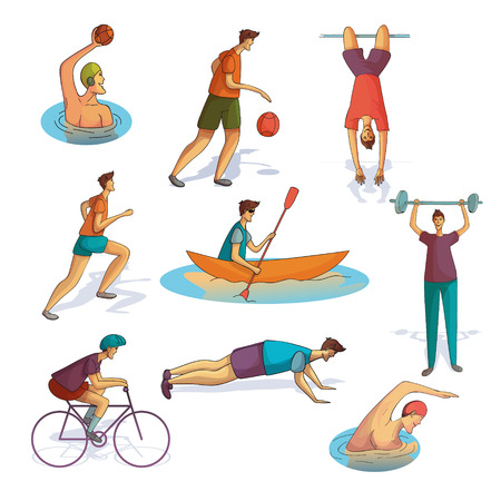 Set of men involved in various sports. Active workout. Athletic guys. Healthy lifestyle. Trendy people in sportswear. Colorful vector illustrations in cartoon style isolated on white background. Vectores