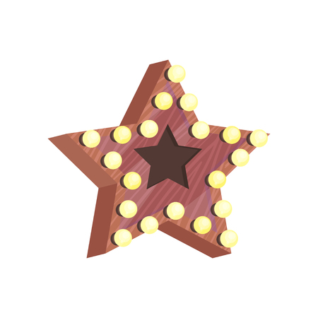 Icon of brown wooden star with small yellow bulb lights. Decor element for dressing room. Accessory for home decoration. Colorful flat illustration isolated on white background. Cartoon vector design.