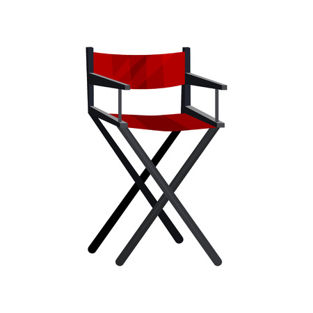 Icon of actor s chair with black frame and red canvas. Cinema director seat. Dressing room furniture. Colorful illustration in flat style isolated on white background. Cartoon vector design.