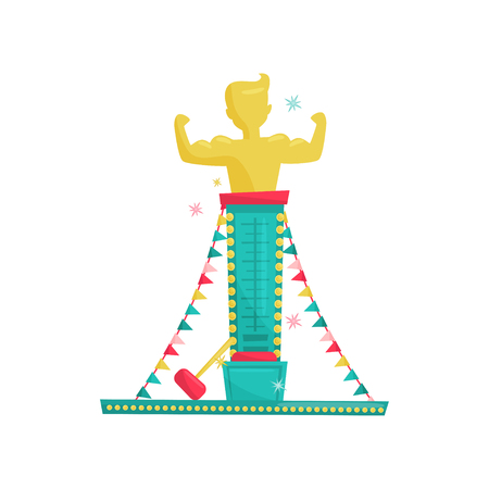 Cartoon icon of high striker attraction with big hammer and muscular man on top. Strength tester or strongman game. Amusement park equipment. Entertainment theme. Isolated flat vector illustration. Illustration