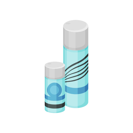Set of small and big cosmetic spray cans. Hair fixation spray. Beauty industry. Blue bottles with gray lids. Colorful illustration in flat style isolated on white background. Cartoon vector design. Ilustração