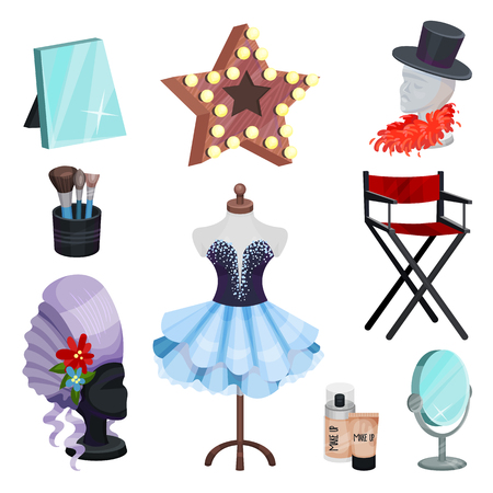 Set of dressing room icons. Dress of actress on mannequin, dummy head, table mirrors, elements of costumes, brushes and makeup cosmetic. Vector illustrations in flat style isolated on white background 向量圖像