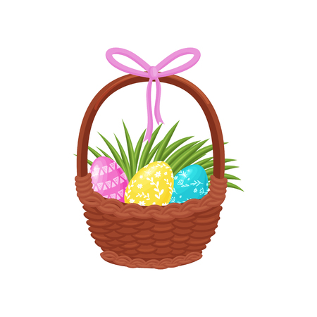 Cute painted Easter eggs and green grass tuft in basket pink bow on handle. Spring holiday. Religious symbol. Colorful illustration in flat style isolated on white background. Cartoon vector design.