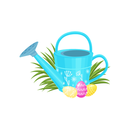 Easter composition with blue garden watering can, cute painted eggs and tuft of green grass. Spring holiday. Graphic design for postcard. Colorful flat vector illustration isolated on white background