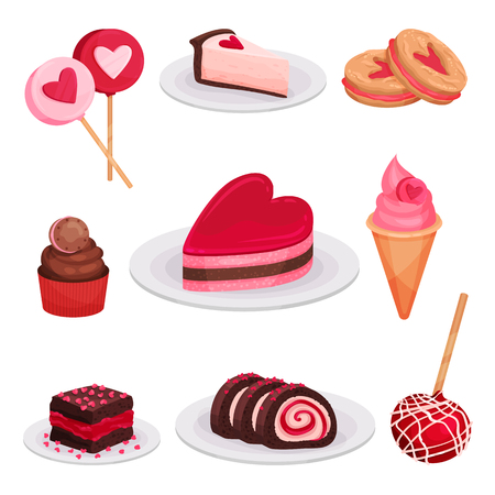 Collection of tasty desserts for Valentine s day. Lollipops, slice of cheese cake, ice-cream, sandwich cookies. Delicious holiday food. Colorful flat vector illustrations isolated on white background.