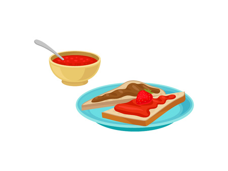 Bowl with jam and spoon. Two slices of toast bread with chocolate and strawberry syrup on blue plate. Sweet and tasty breakfast. Food theme. Colorful flat vector design isolated on white background.