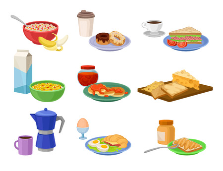 Set of breakfast icons. Tasty food and drink. Delicious morning meal. Nutrition theme. Graphic elements for poster. Cartoon vector design. Colorful flat illustrations isolated on white background.