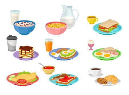 Collection of food and drink icons. Tasty breakfast. Appetizing morning meal. Nutrition theme. Graphic elements for cafe menu. Colorful vector illustrations in flat style isolated on white background.