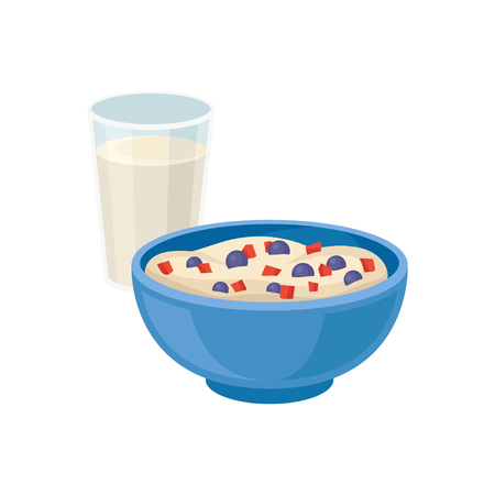 Glass of fresh milk and blue bowl of tasty semolina porridge. Delicious breakfast. Healthy meal. Food and drink theme. Cartoon vector design. Colorful flat illustration isolated on white background. Illustration