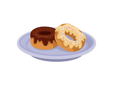 Two sweet donuts with chocolate and vanilla glaze on blue plate. Delicious snack. Meal for breakfast. Food theme. Illustration in flat style isolated on white background. Cartoon vector design.