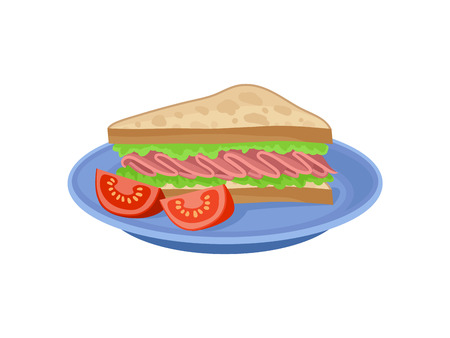 Appetizing sandwich and two slices of fresh tomato on blue plate. Tasty meal for breakfast. Food theme. Graphic element for cafe menu. Colorful flat vector illustration isolated on white background.