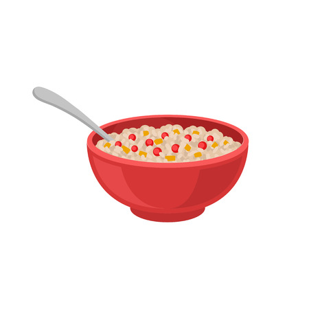 Oatmeal porridge with red berries and pieces of pumpkin in red bowl with spoon. Organic food. Healthy breakfast. Delicious morning meal. Colorful flat vector illustration isolated on white background. 일러스트