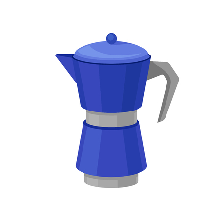 Icon of blue metal moka pot for brewing coffee. Coffee maker. Kitchen object. Graphic element for promo poster or banner. Cartoon vector design. Colorful flat illustration isolated on white background
