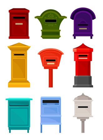 Set of different mailboxes. Colorful containers for letters and newspapers. Iron postal boxes for correspondence. Cartoon vector design. Illustrations in flat style isolated on white background.