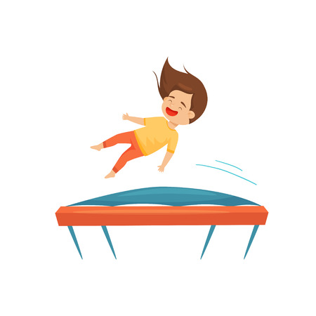 Joyful little girl jumping on trampoline. Active leisure. Entertainment theme. Cartoon character of happy child. Graphic design for promo poster of amusement center. Isolated flat vector illustration.