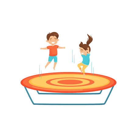 Little boy and girl jumping on trampoline. Kids having fun together. Active leisure. Attraction of amusement center. Cartoon characters. Colorful flat vector illustration isolated on white background.
