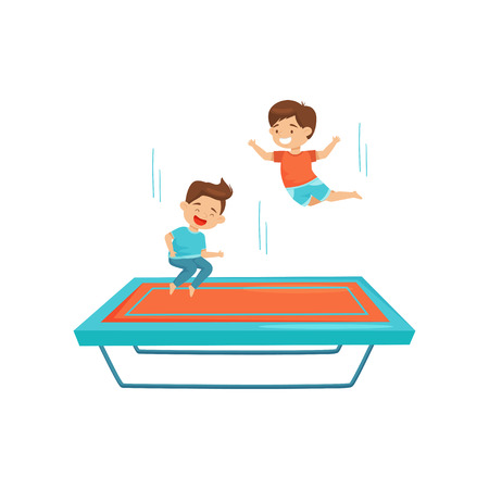 Two little boys jumping on trampoline. Joyful kids having fun together. Active leisure. Cartoon characters. Graphic design for promo poster of amusement center. Isolated flat vector illustration. Illustration