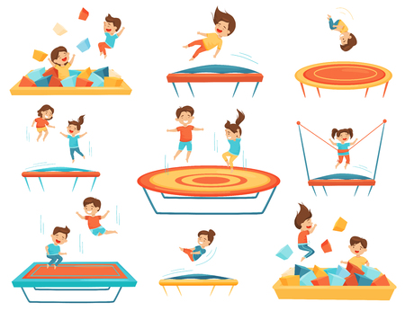 Set of children jumping on trampolines and playing in pool with soft paralon cubes. Kids leisure. Fun attraction of amusement center. Cartoon characters. Isolated vector illustrations in flat style.