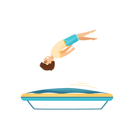 Teenage boy jumping on trampoline, practicing to do somersault. Active leisure. Attraction of amusement center. Cartoon character. Colorful flat vector illustration isolated on white background.