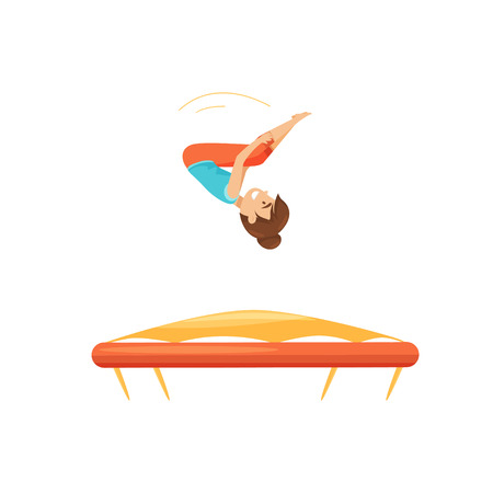 Teenage girl jumping on trampoline, practicing to do somersault. Children activity. Fun leisure. Cartoon character. Amusement center attraction. Flat vector illustration isolated on white background.