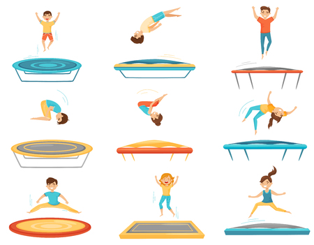 Set of kids jumping on trampolines. Happy boys and girls having fun. Active leisure. Children recreation. Amusement center attraction. Colorful flat vector illustrations isolated on white background.