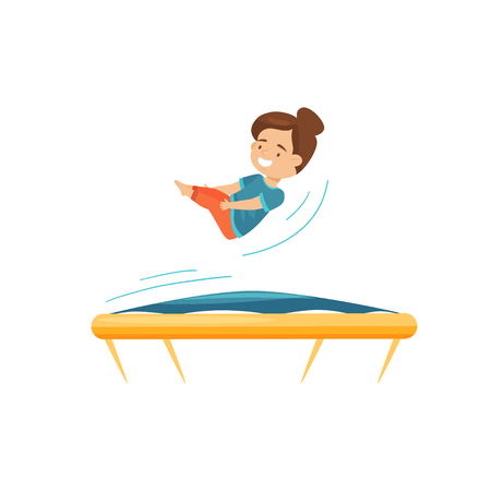 Cute little girl jumping on trampoline, practicing to do somersault. Active leisure. Cartoon character. Entertainment theme. Colorful vector illustration in flat style isolated on white background.