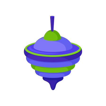 Trottola in plastica blu-verde brillante, trottola tradizionale. Giocattolo per bambini. Tema per il tempo libero dei bambini. Icona di vettore piatto