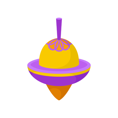 Purple-orange spinning top. Classic plastic whirligig. Children toy. Kids development game. Decorative element for poster of toy store. Vector illustration in flat style isolated on white background. 일러스트
