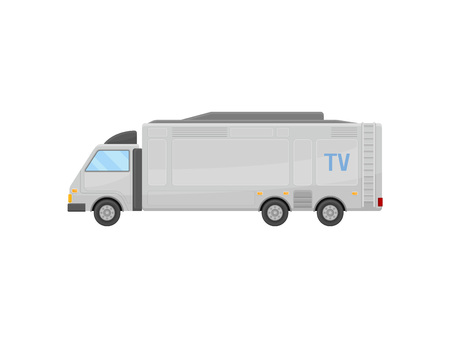 Illustration of large TV news truck, side view. Mobile television studio. Media car. Communication and transport theme. Colorful icon in flat style isolated on white background. Cartoon vector design.
