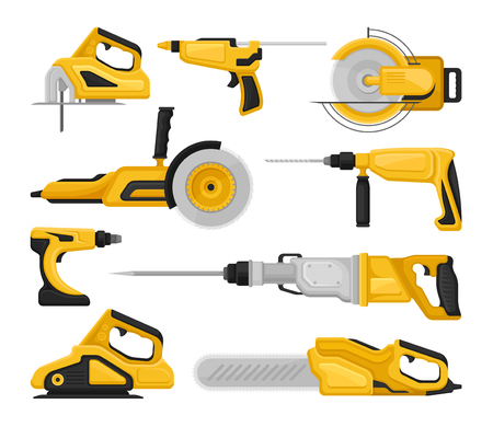 Set of different power tools. Electric saws, sanding machine, hammer drills, glue gun. Professional building equipment. Cartoon vector icons. Colorful flat illustrations isolated on white background. Foto de archivo - 125275981