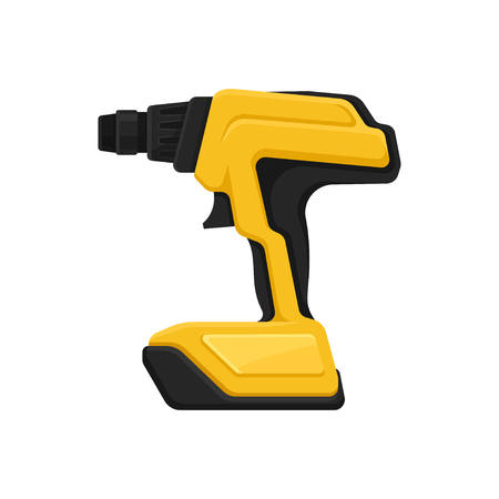 Yellow-black cordless drill, side view. Professional power tool. Electric screw driver for home repair or construction works. Colorful vector illustration in flat style isolated on white background.
