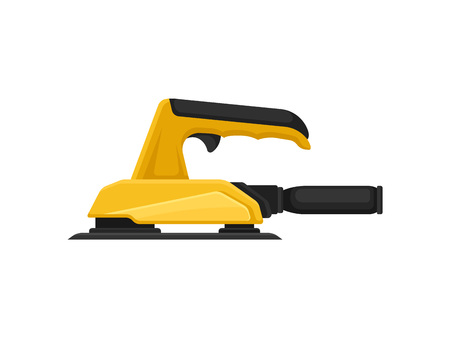 Electric polishing machine or sandpaper, side view. Working instrument. Equipment for carpentry works. Professional power tool. Cartoon vector design. Colorful flat icon isolated on white background.