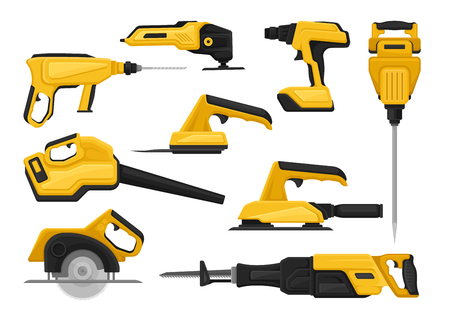 Collection of power tools for construction works. Modern building equipment. Graphic elements for promo poster of hardware store. Colorful vector icons in flat style isolated on white background. Vectores