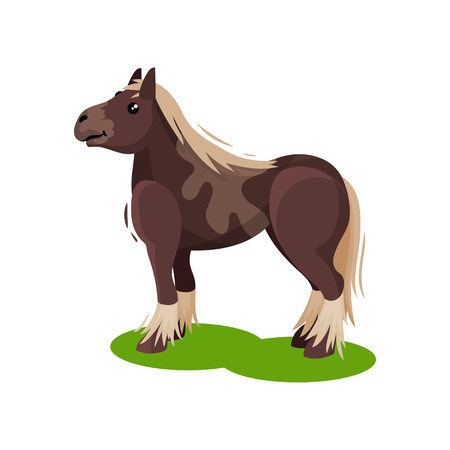 Big brown horse with blonde mane and tail standing on green grass. Mammal animal. Flat vector design