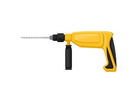 Professional rotary hammer with twist drill bit. Power tool. Building equipment. Instrument for construction works. Colorful icon in flat style isolated on white background. Cartoon vector design.