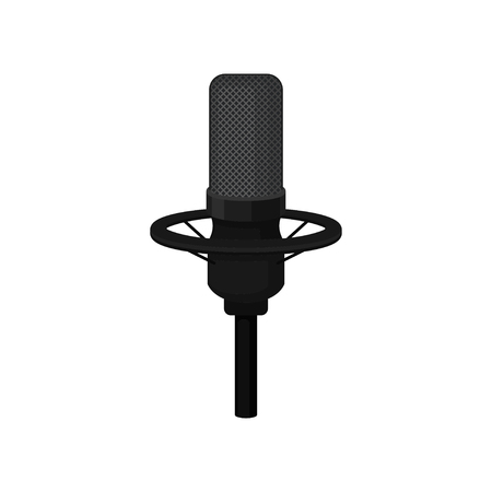 Icon of black condenser microphone on stand. Professional mic for broadcasting and recording voice. Equipment for radio or record studio. Colorful flat vector illustration isolated on white background