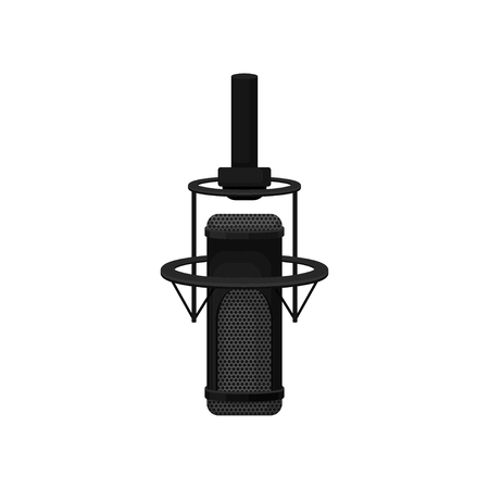 Professional condenser microphone with shock mount. Equipment for radio or record studio. Mic for broadcasting and recording voice. Colorful vector icon in flat style isolated on white background.