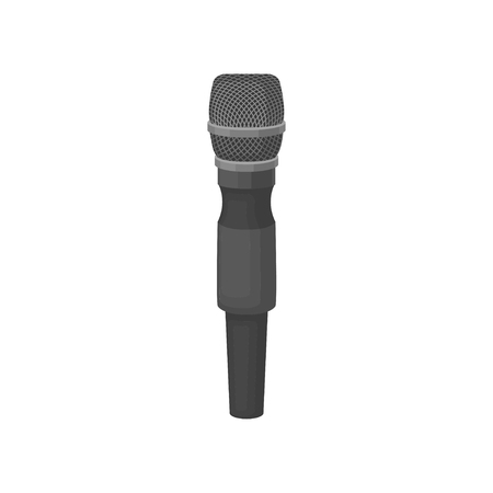 Dynamic vocal microphone isolated on white background. Professional sound recording equipment. Gray handheld mic with metal grid. Graphic element for poster or flyer. Colorful flat vector illustration